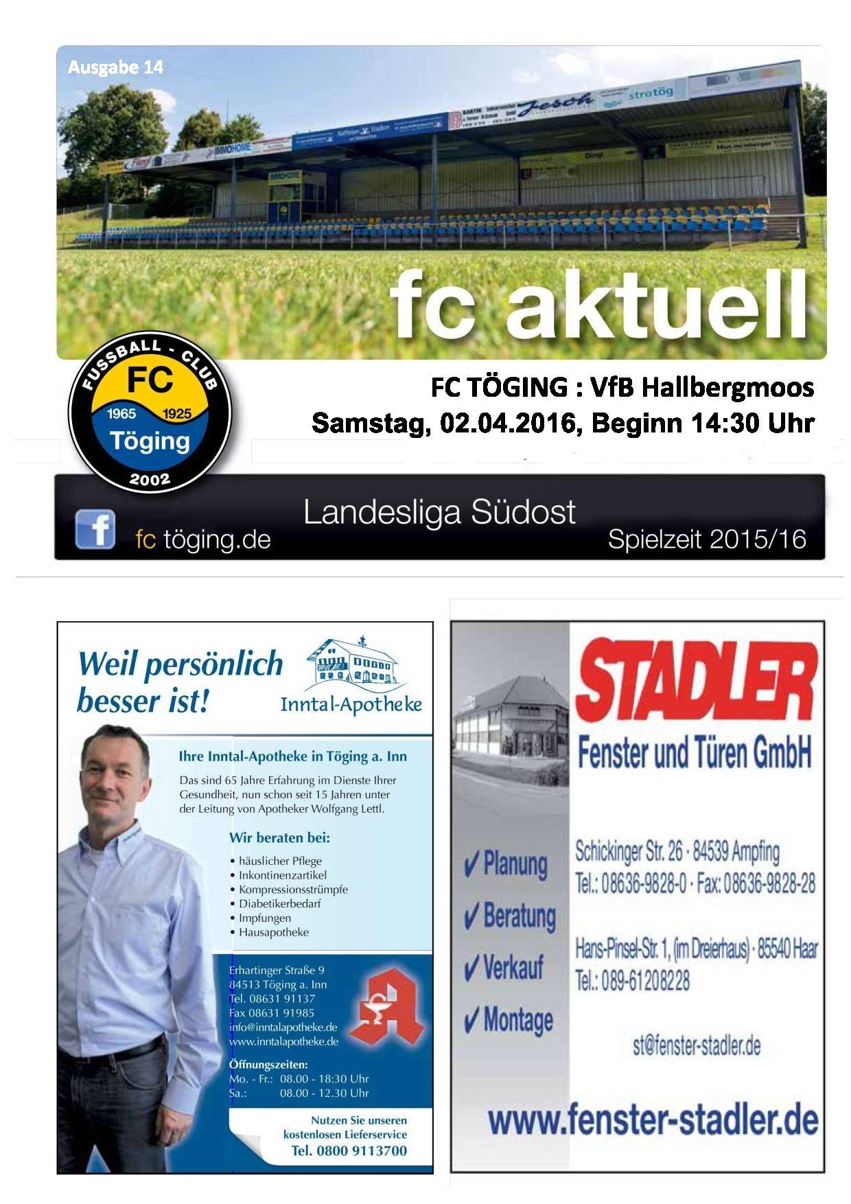 fc aktuell Saison 2015-16 Ausgabe 14