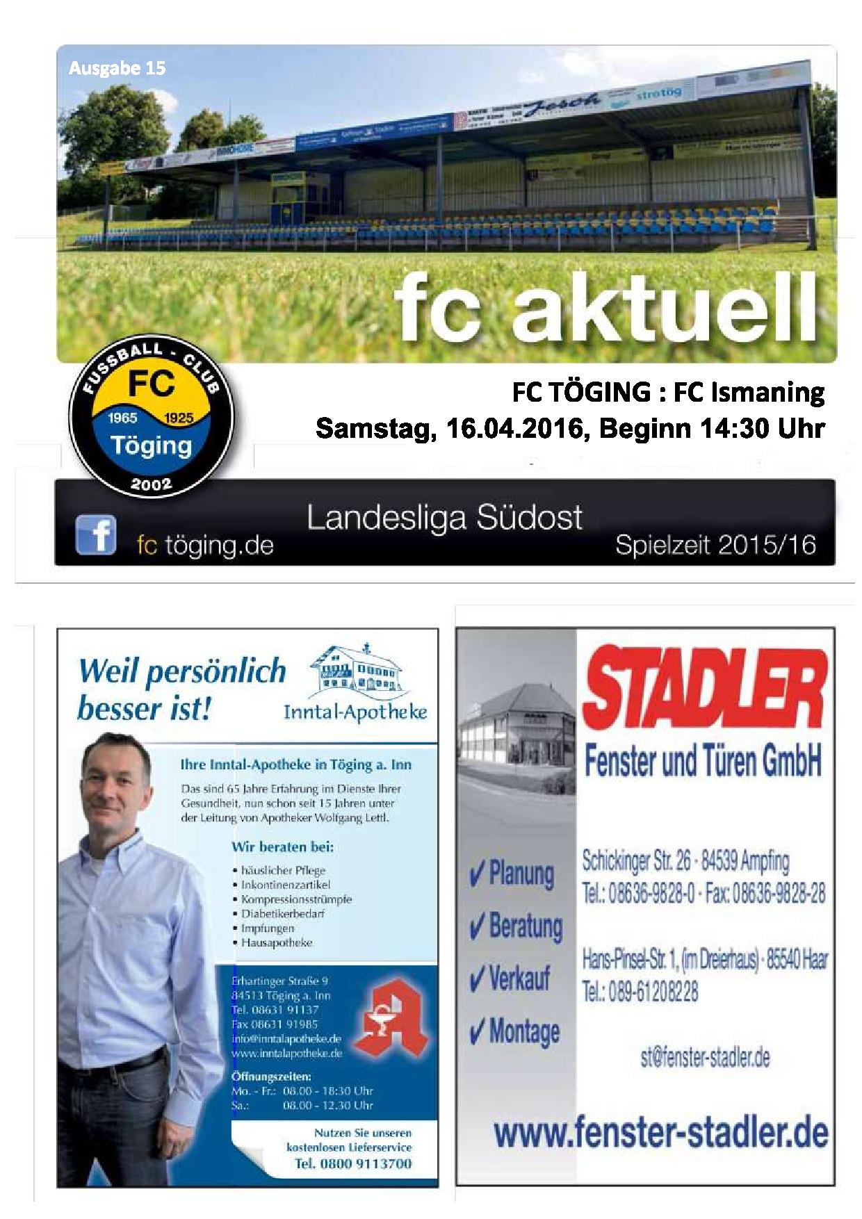 fc aktuell Saison 2015-16 Ausgabe 15