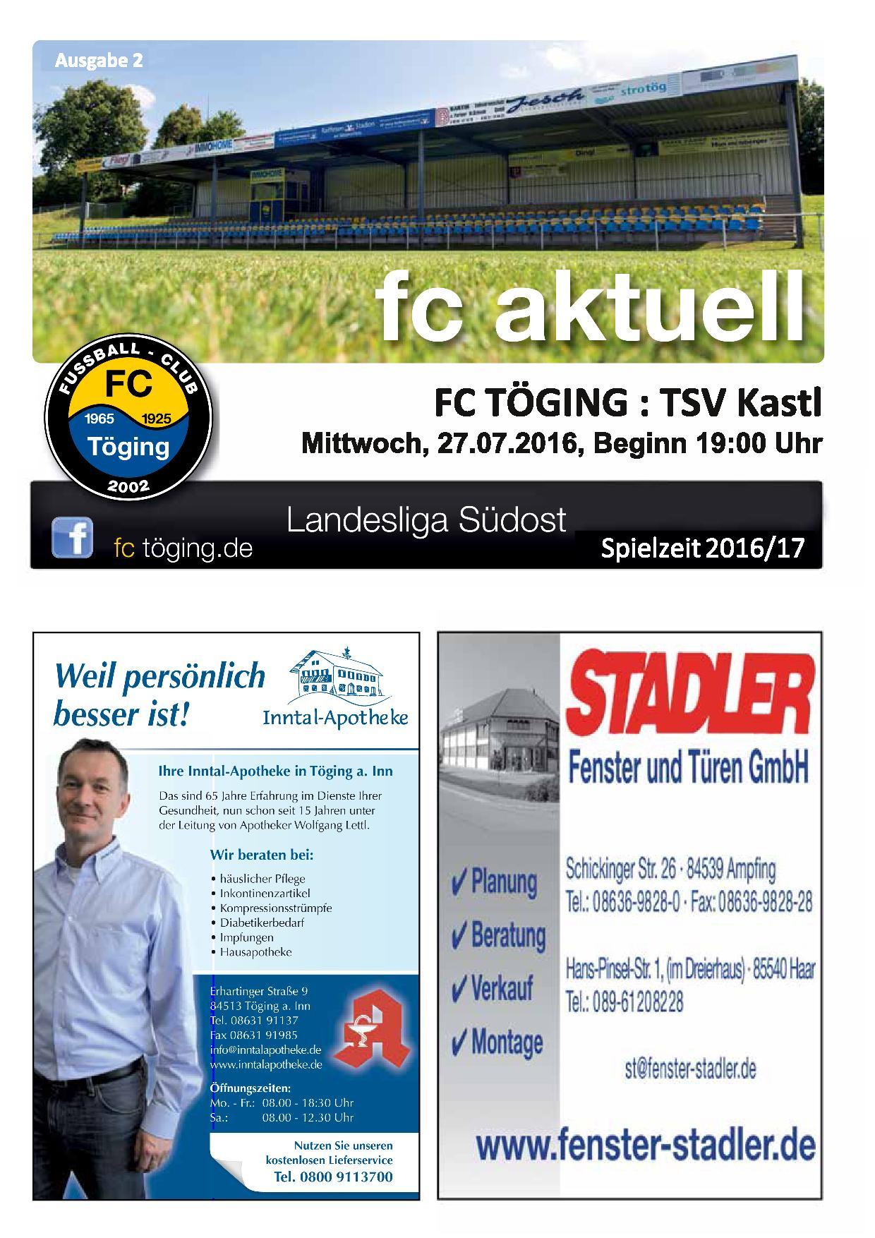 Ausgabe 2 Saison 2016-17 Titelblatt
