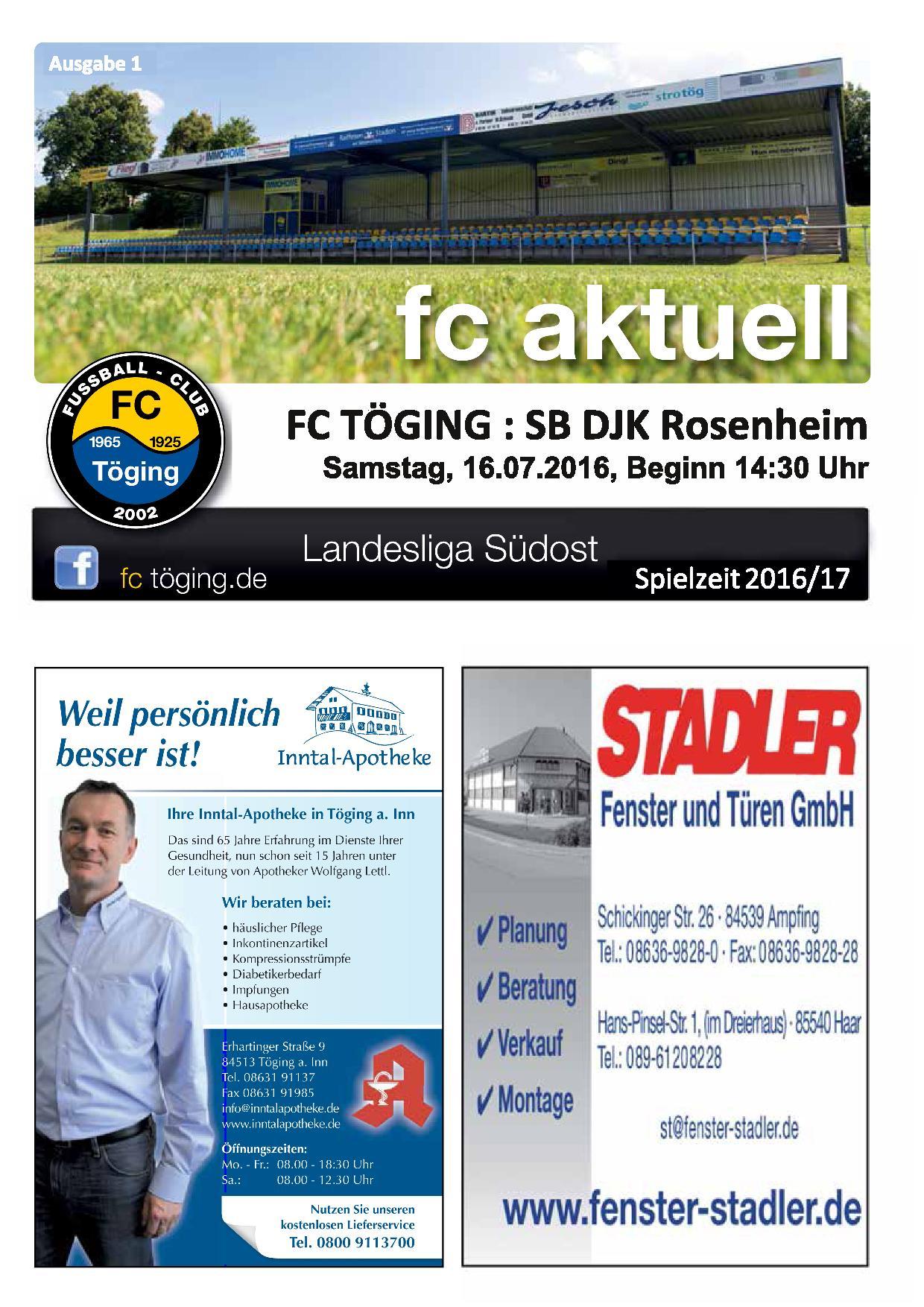 Ausgabe 1 Saison 2016-17 Titelblatt