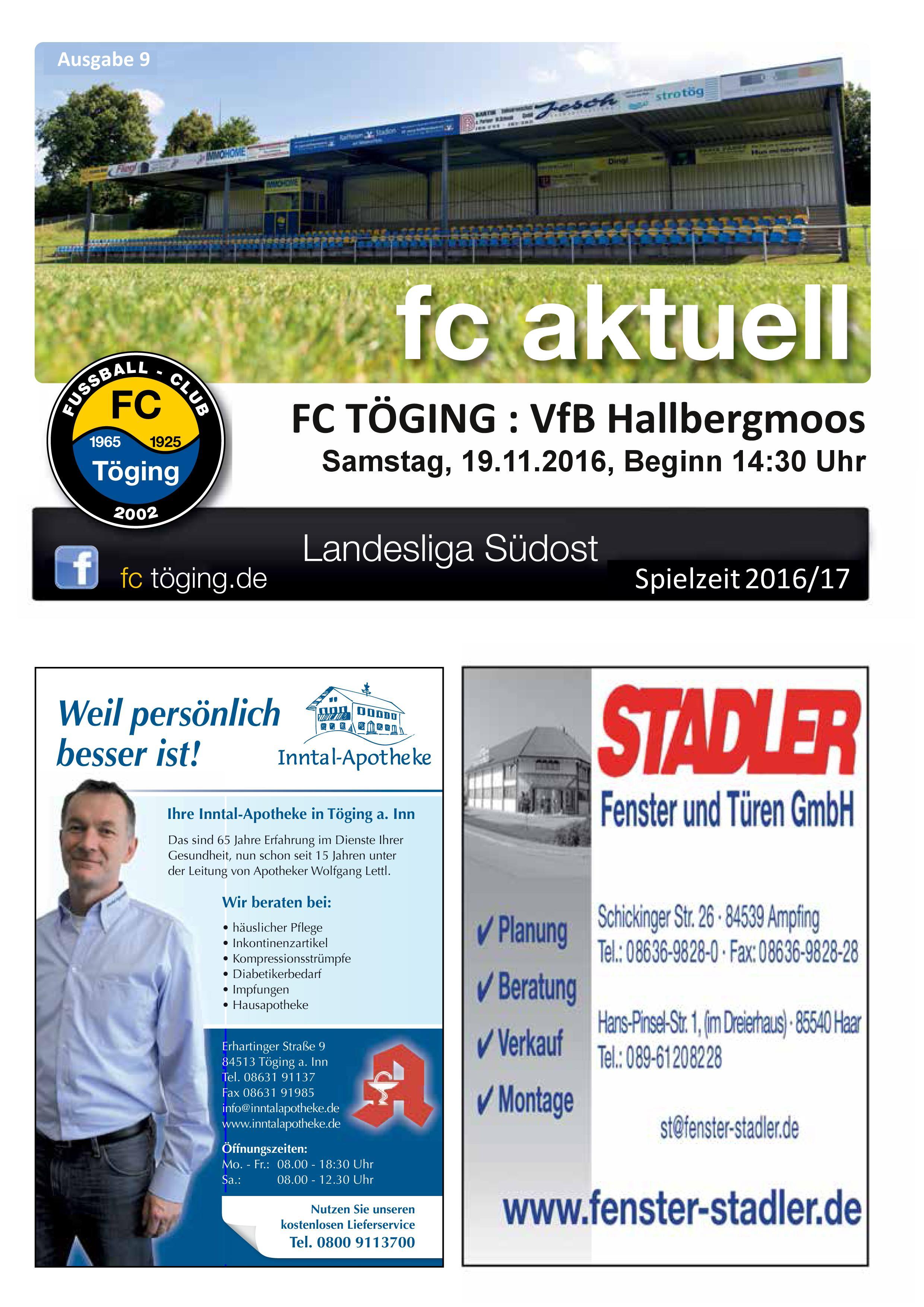 Ausgabe 9 Saison 2016-17 titelblatt
