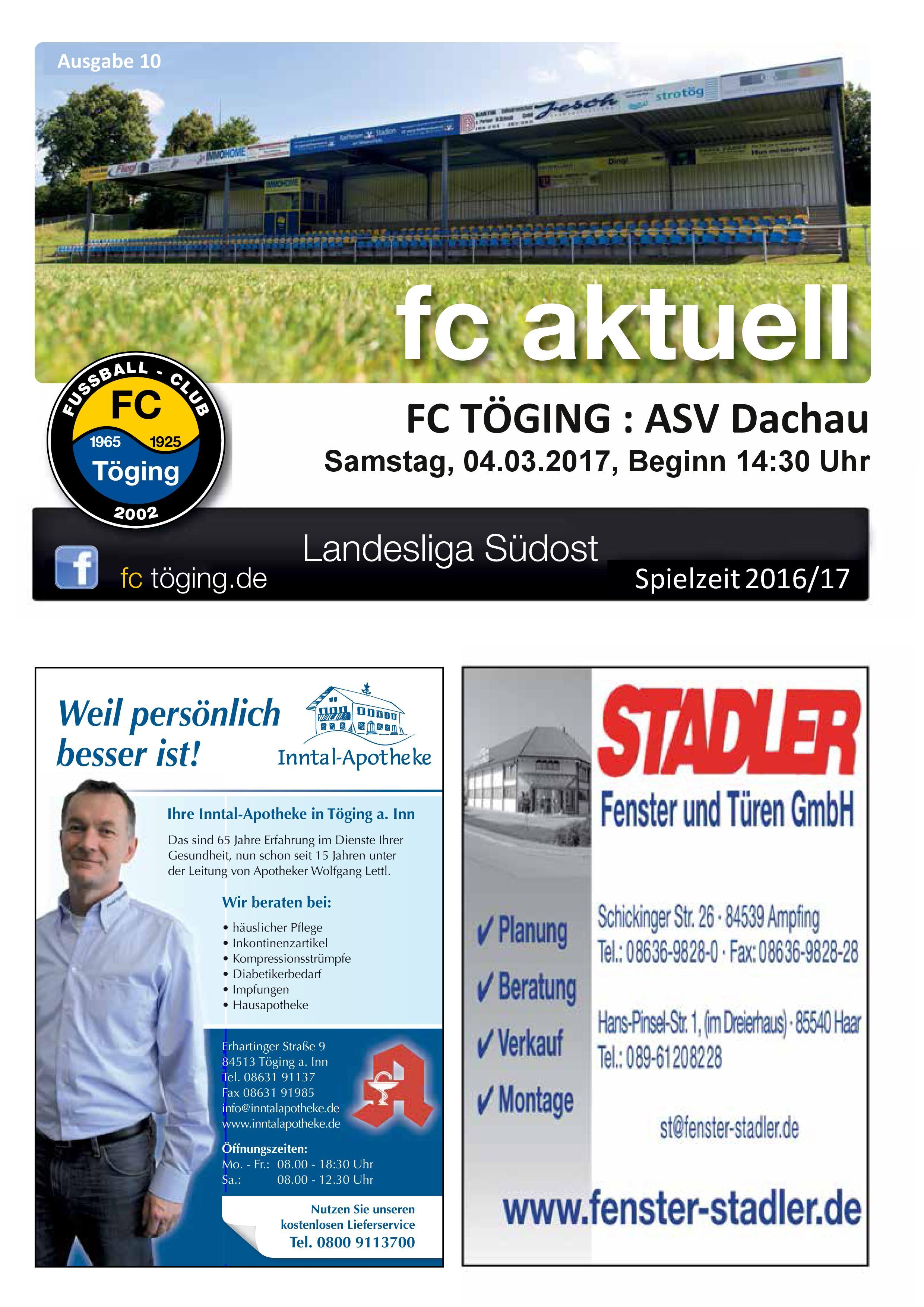 Ausgabe 10 Saison 2016-17 Titelblatt