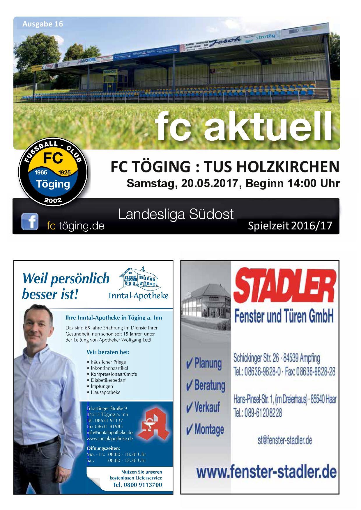 Ausgabe 16 Saison 2016-17 Titelblatt