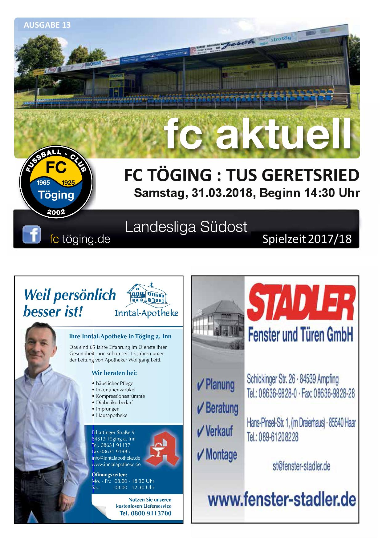 Titelblatt Ausgabe 13 Saison 2017-18