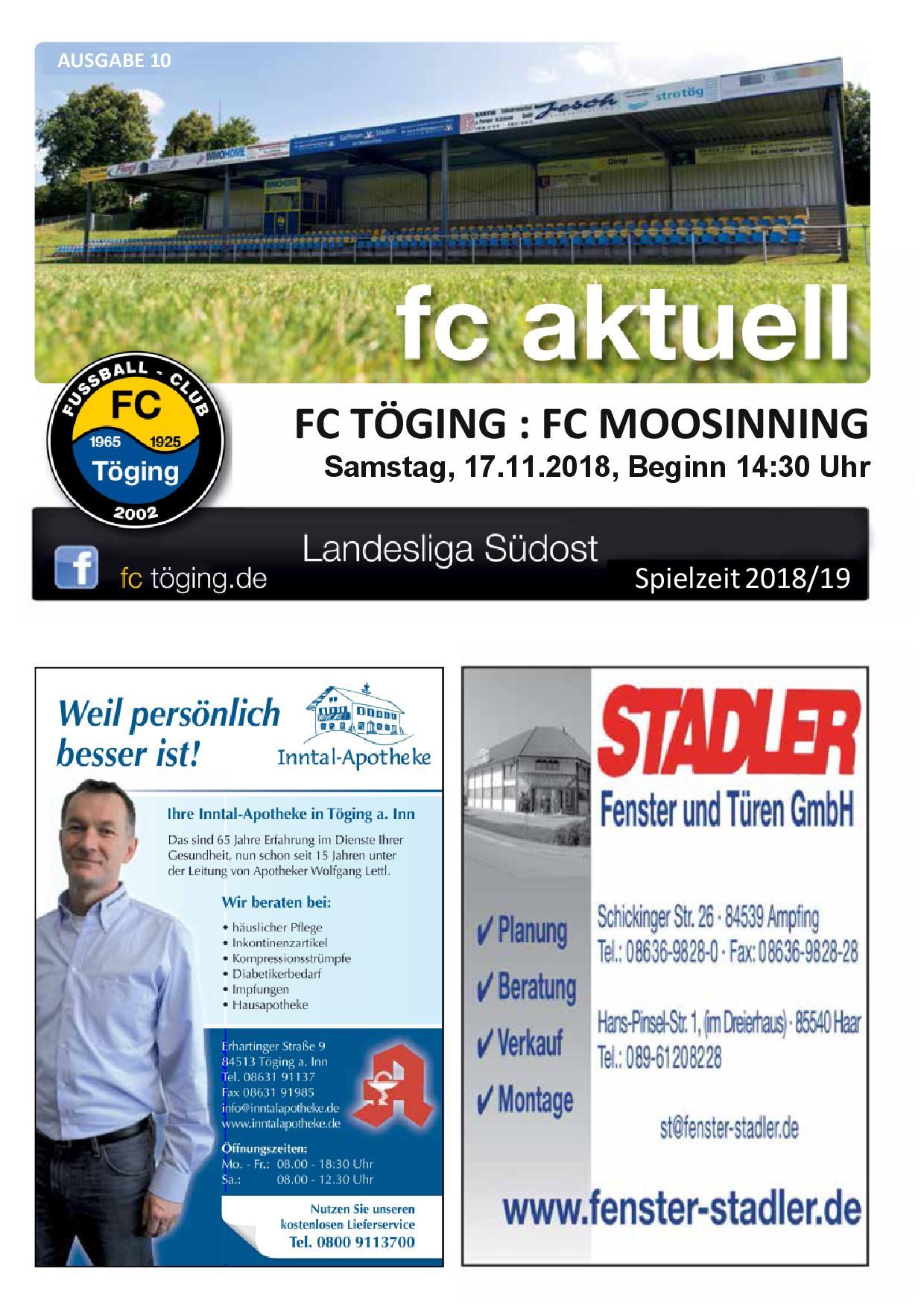 Ausgabe 10 Saison 2018-19 Titelblatt