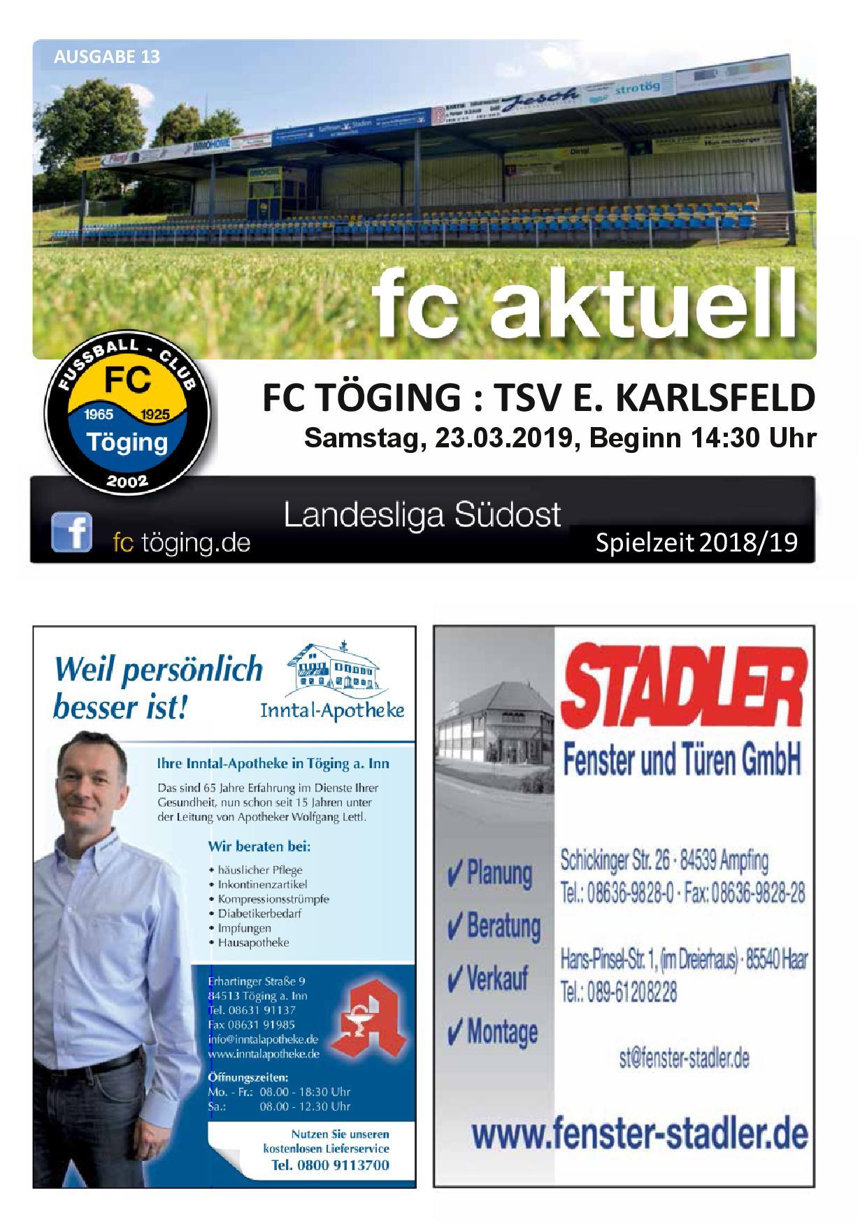 Ausgabe 13 Saison 2018-19 Titelblatt