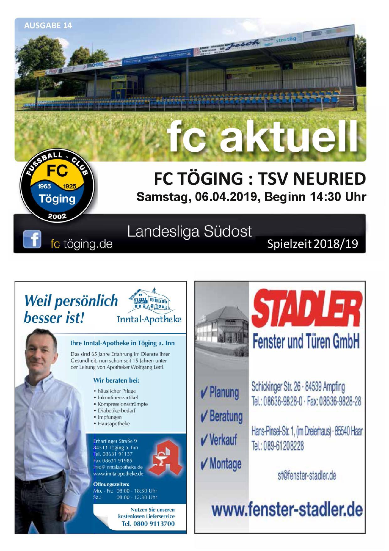 Ausgabe 14 Saison 2018-19 Titelblatt
