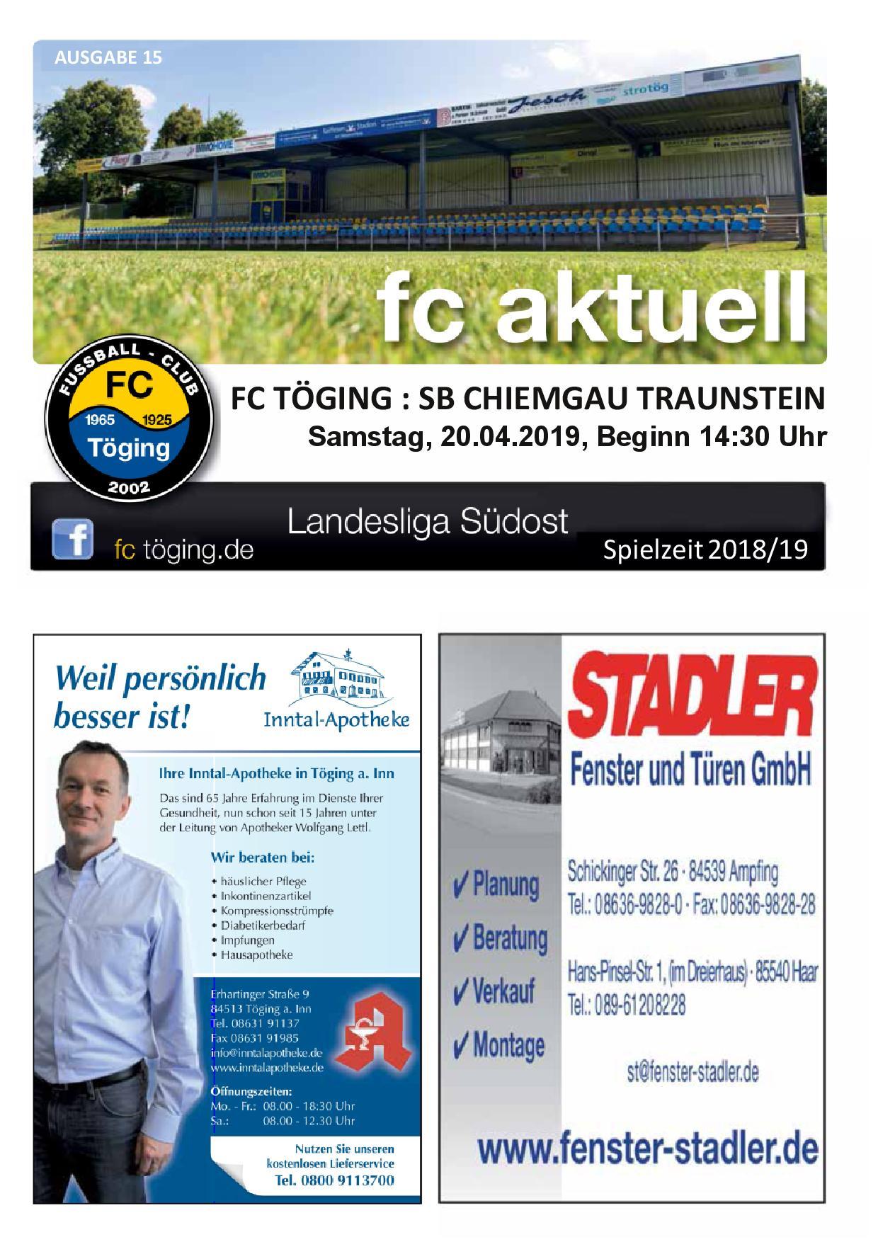 Ausgabe 15 Saison 2018-19 Titelblatt